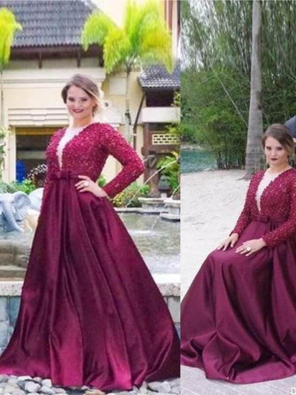 A-Line/Princess V-neck Long Sleeves Sweep/Brush Train Satin Dresses with Beading
