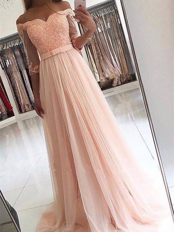 A-Line/Princess Off-the-Shoulder 3/4 Sleeves Sweep/Brush Train Tulle Dresses with Sash/Ribbon/Belt