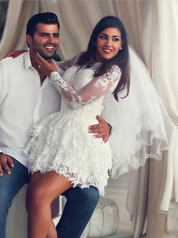 A-Line/Princess Scoop Long Sleeves Short/Mini Lace Wedding Dresses with Applique