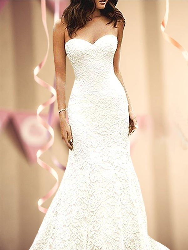 Trumpet/Mermaid Sweetheart Sleeveless Sweep/Brush Train Lace Wedding Dresses with Lace