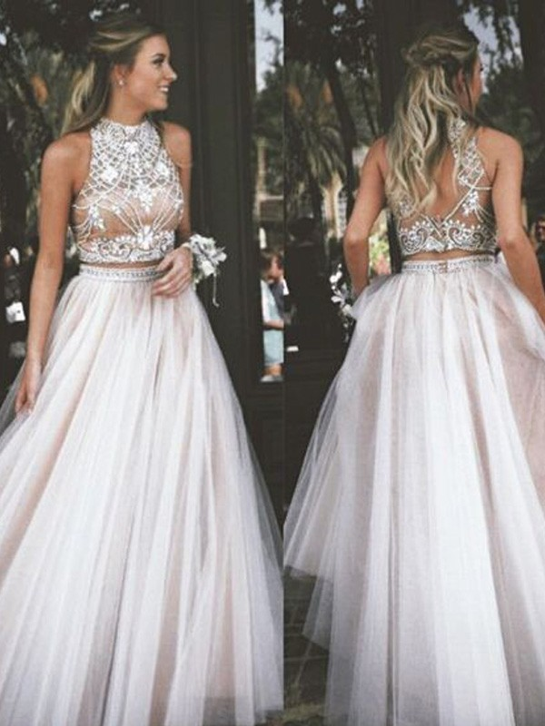 A-Line/Princess High Neck Sleeveless Floor-Length Tulle Dresses with Beading