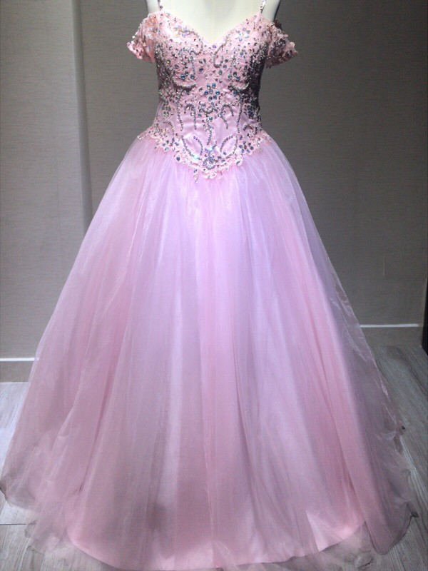 Ball Gown Spaghetti Straps Sleeveless Floor-Length Tulle Dresses with Crystal