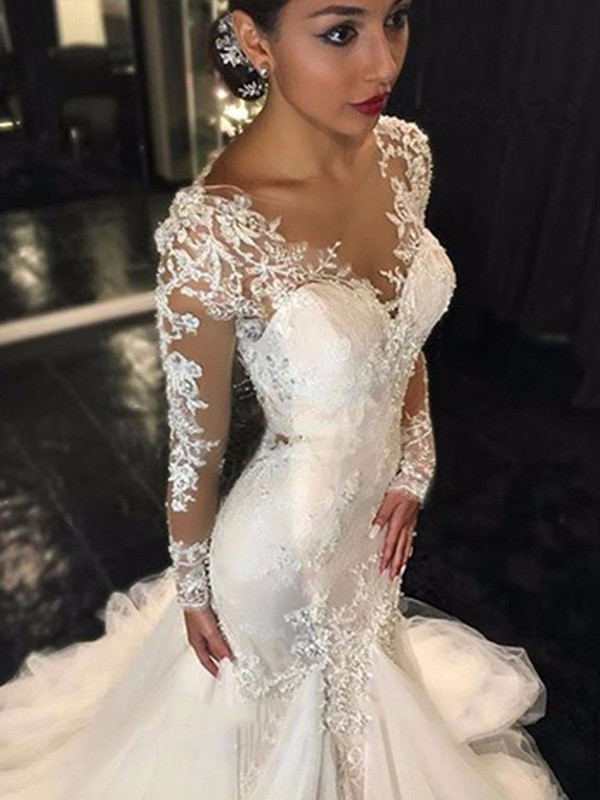 Trumpet/Mermaid V-neck Long Sleeves Court Train Tulle Wedding Dresses with Lace
