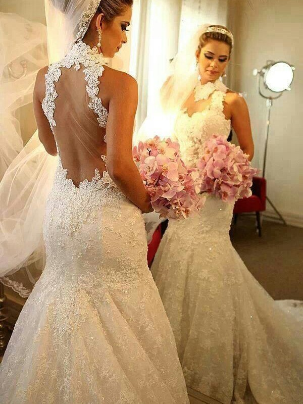 Trumpet/Mermaid High Neck Sleeveless Court Train Lace Wedding Dresses with Lace