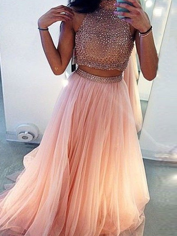 A-Line/Princess High Neck Sleeveless Sweep/Brush Train Tulle Dresses with Beading