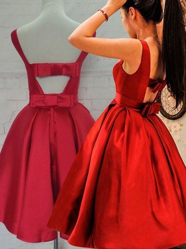 A-Line/Princess Scoop Sleeveless Short/Mini Satin Dresses with Sash/Ribbon/Belt