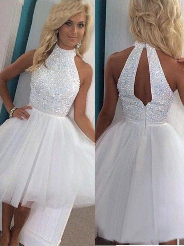 A-Line/Princess Halter Sleeveless Short/Mini Tulle Dresses with Beading