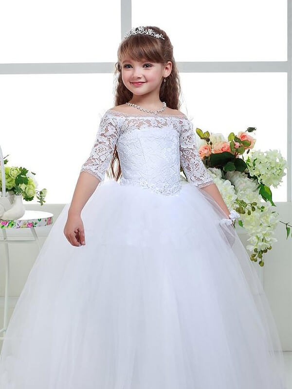 Ball Gown Off-the-Shoulder 1/2 Sleeves Floor-Length Tulle Flower Girl Dresses with Lace