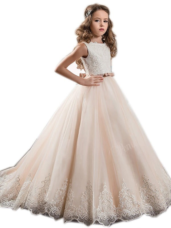 Ball Gown Jewel Sleeveless Sweep/Brush Train Tulle Flower Girl Dresses with Lace