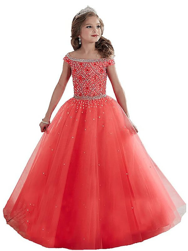 Ball Gown Off-the-Shoulder Sleeveless Floor-Length Tulle Flower Girl Dresses with Beading