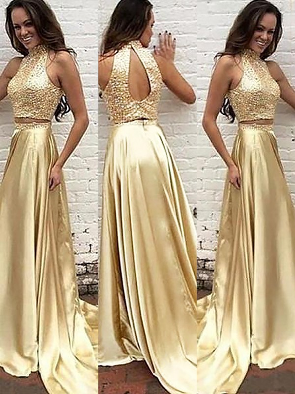 A-Line/Princess High Neck Sleeveless Sweep/Brush Train Satin Dresses with Beading