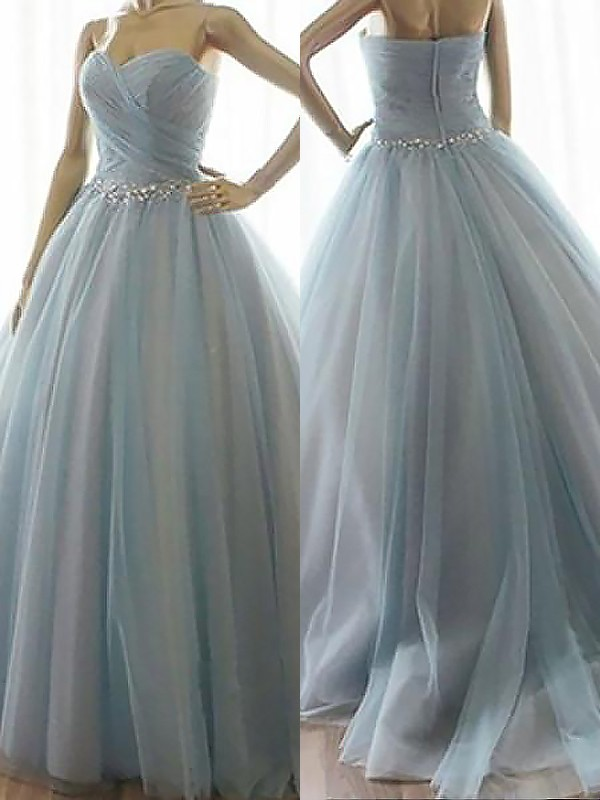 Ball Gown Sweetheart Sleeveless Floor-Length Tulle Dresses with Beading
