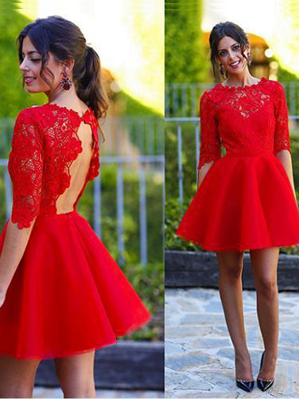 A-Line/Princess Scoop 1/2 Sleeves Short/Mini Lace Dresses with Lace
