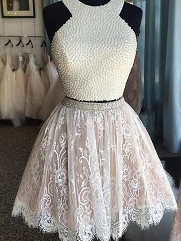 A-Line/Princess Halter Sleeveless Short/Mini Lace Dresses with Pearls