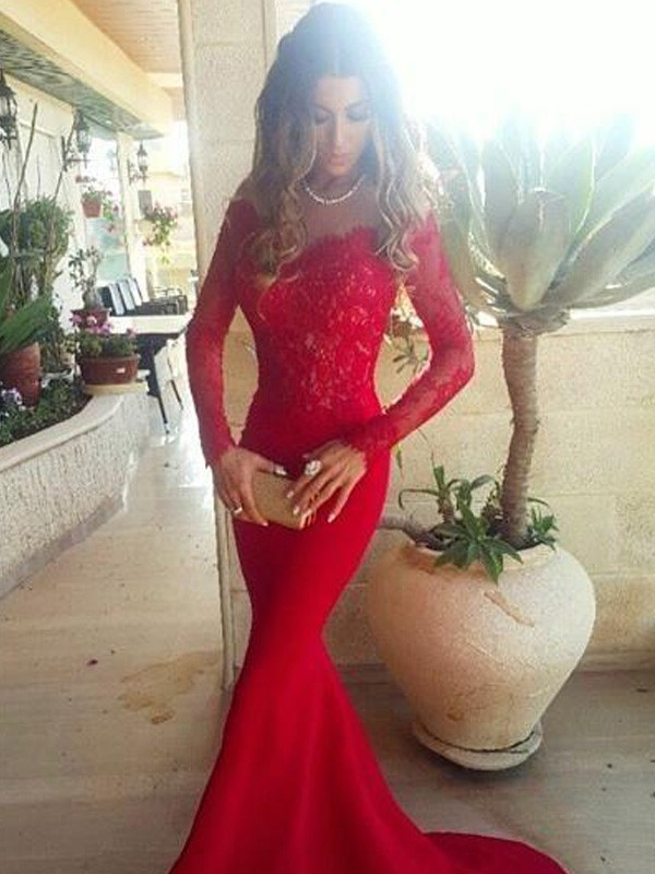 Trumpet/Mermaid Off-the-Shoulder Long Sleeves Sweep/Brush Train Satin Dresses with Lace