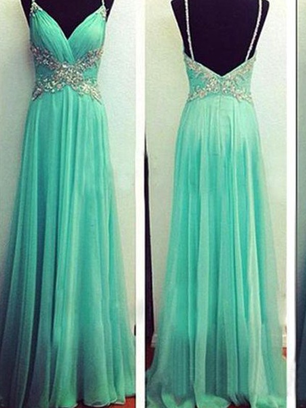 A-Line/Princess Spaghetti Straps Sleeveless Floor-Length Chiffon Dresses with Beading