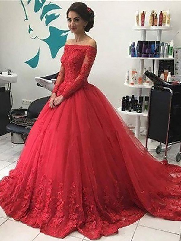 Ball Gown Off-the-Shoulder Long Sleeves Court Train Tulle Dresses with Lace