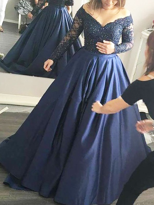 Ball Gown Off-the-Shoulder Long Sleeves Sweep/Brush Train Satin Dresses with Beading