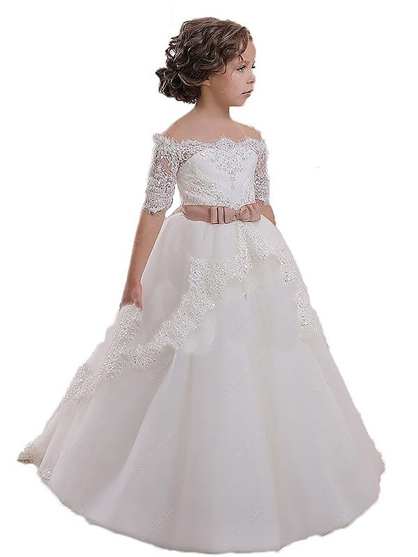 Ball Gown Off-the-Shoulder Short Sleeves Sweep/Brush Train Tulle Flower Girl Dresses with Sash/Ribbon/Belt
