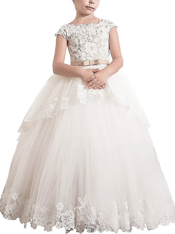 Ball Gown Scoop Sleeveless Floor-Length Tulle Flower Girl Dresses with Lace