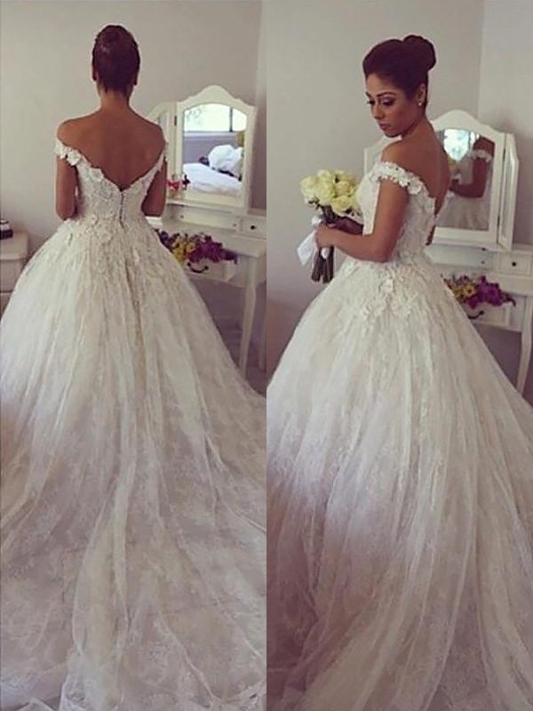 Ball Gown Off-the-Shoulder Sleeveless Court Train Lace Wedding Dresses
