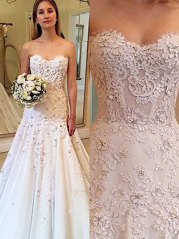 A-Line/Princess Sweetheart Sleeveless Court Train Lace Wedding Dresses