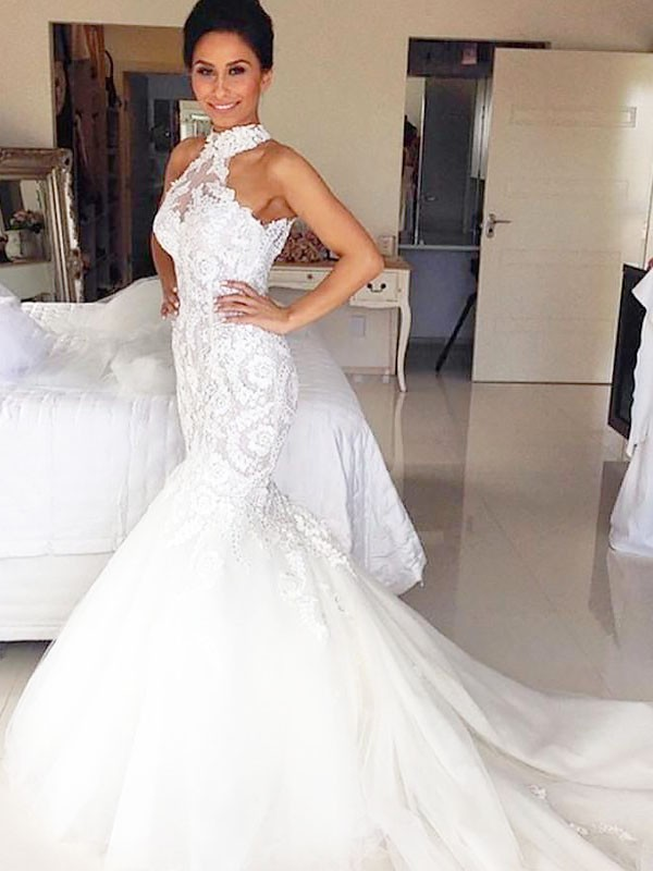 Trumpet/Mermaid Halter Sleeveless Court Train Tulle Wedding Dresses