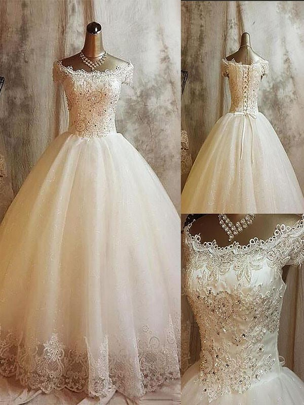 Ball Gown Off-the-Shoulder Sleeveless Sweep/Brush Train Tulle Wedding Dresses with Applique