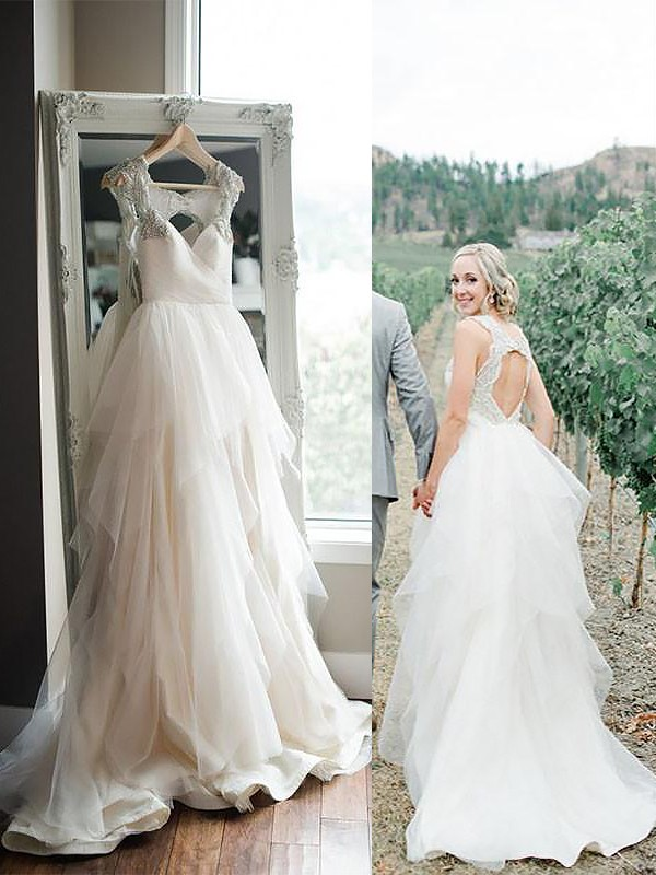 A-Line/Princess Straps Sleeveless Sweep/Brush Train Tulle Wedding Dresses