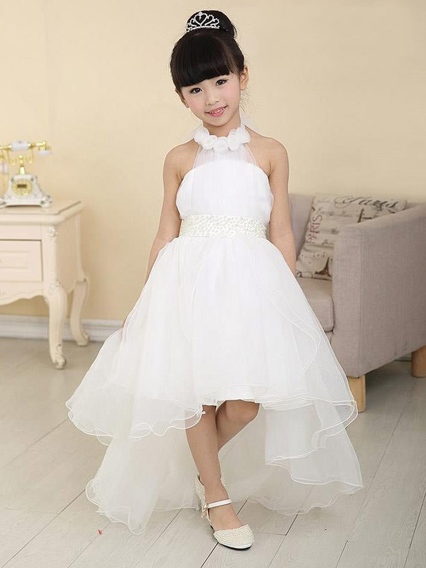 A-Line/Princess High Neck Sleeveless Asymmetrical Organza Flower Girl Dresses with Beading
