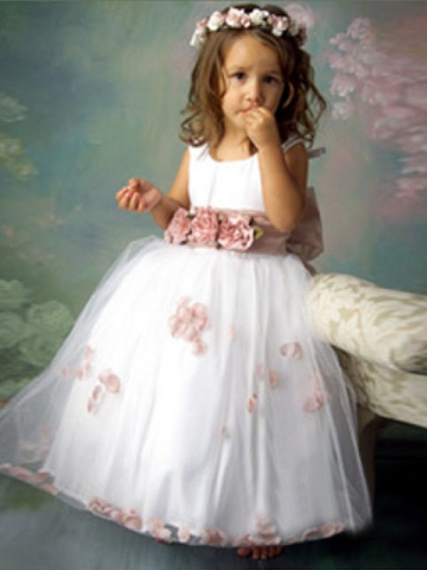 A-Line/Princess Scoop Sleeveless Floor-Length Tulle Flower Girl Dresses with Hand-Made Flower