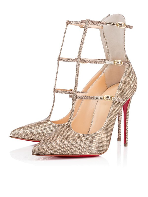 Sparkling Glitter Closed Toe with Buckle Stiletto Heel High Heels
