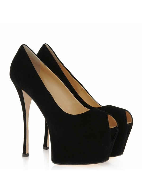 Suede Stiletto Heel Peep Toe Platform High Heels
