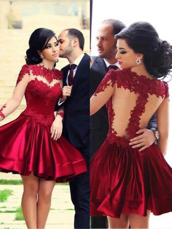 A-Line/Princess High Neck Long Sleeves Short/Mini Elastic Woven Satin Dresses with Lace