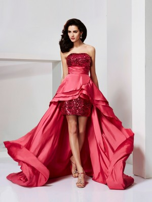 A-Line/Princess Strapless Sleeveless Asymmetrical Taffeta Dresses with Lace Paillette