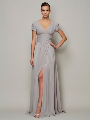 A-Line/Princess V-neck Short Sleeves Floor-Length Chiffon Dresses
