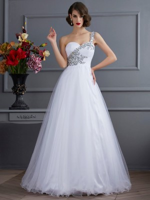 Ball Gown One-Shoulder Sleeveless Floor-Length Elastic Woven Satin Dresses with Beading Applique