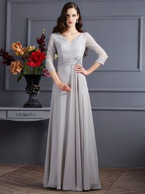 A-Line/Princess V-neck 3/4 Sleeves Floor-Length Chiffon Dresses with Applique
