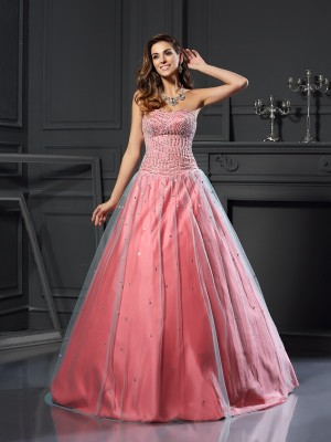 Ball Gown Sweetheart Sleeveless Floor-Length Satin Dresses with Beading
