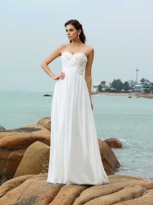 A-Line/Princess Sweetheart Sleeveless Sweep/Brush Train Chiffon Wedding Dresses with Beading