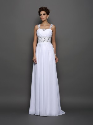 A-Line/Princess Straps Sleeveless Court Train Chiffon Wedding Dresses with Beading
