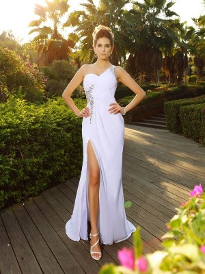 A-Line/Princess One-Shoulder Sleeveless Court Train Chiffon Wedding Dresses with Beading