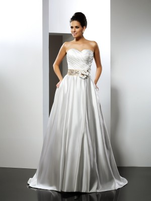 A-Line/Princess Sweetheart Sleeveless Court Train Satin Wedding Dresses with Hand-Made Flower Sash/Ribbon/Belt