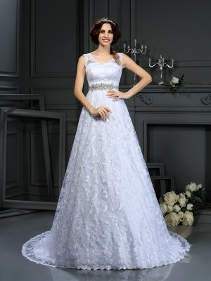 A-Line/Princess V-neck Sleeveless Court Train Satin Wedding Dresses with Lace