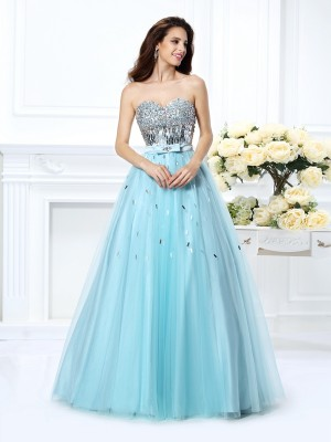 Ball Gown Sweetheart Sleeveless Floor-Length Satin Dresses with Beading Paillette