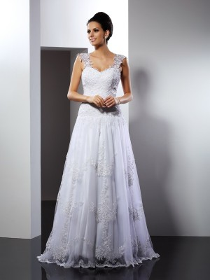 A-Line/Princess Straps Sleeveless Court Train Lace Wedding Dresses with Applique