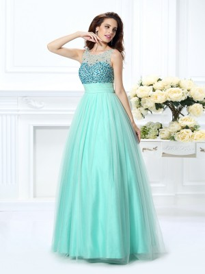 Ball Gown Bateau Sleeveless Floor-Length Chiffon Dresses with Beading