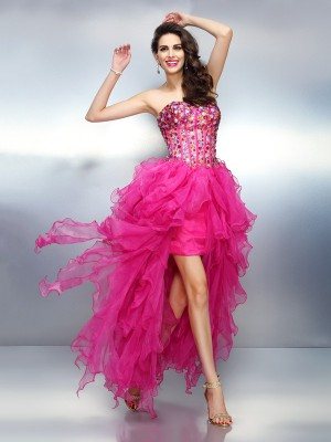 A-Line/Princess Sweetheart Sleeveless Asymmetrical Organza Dresses with Rhinestone