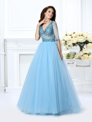 Ball Gown V-neck 1/2 Sleeves Floor-Length Satin Dresses with Beading