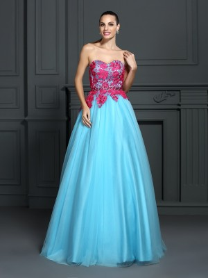Ball Gown Sweetheart Sleeveless Floor-Length Satin Dresses with Lace